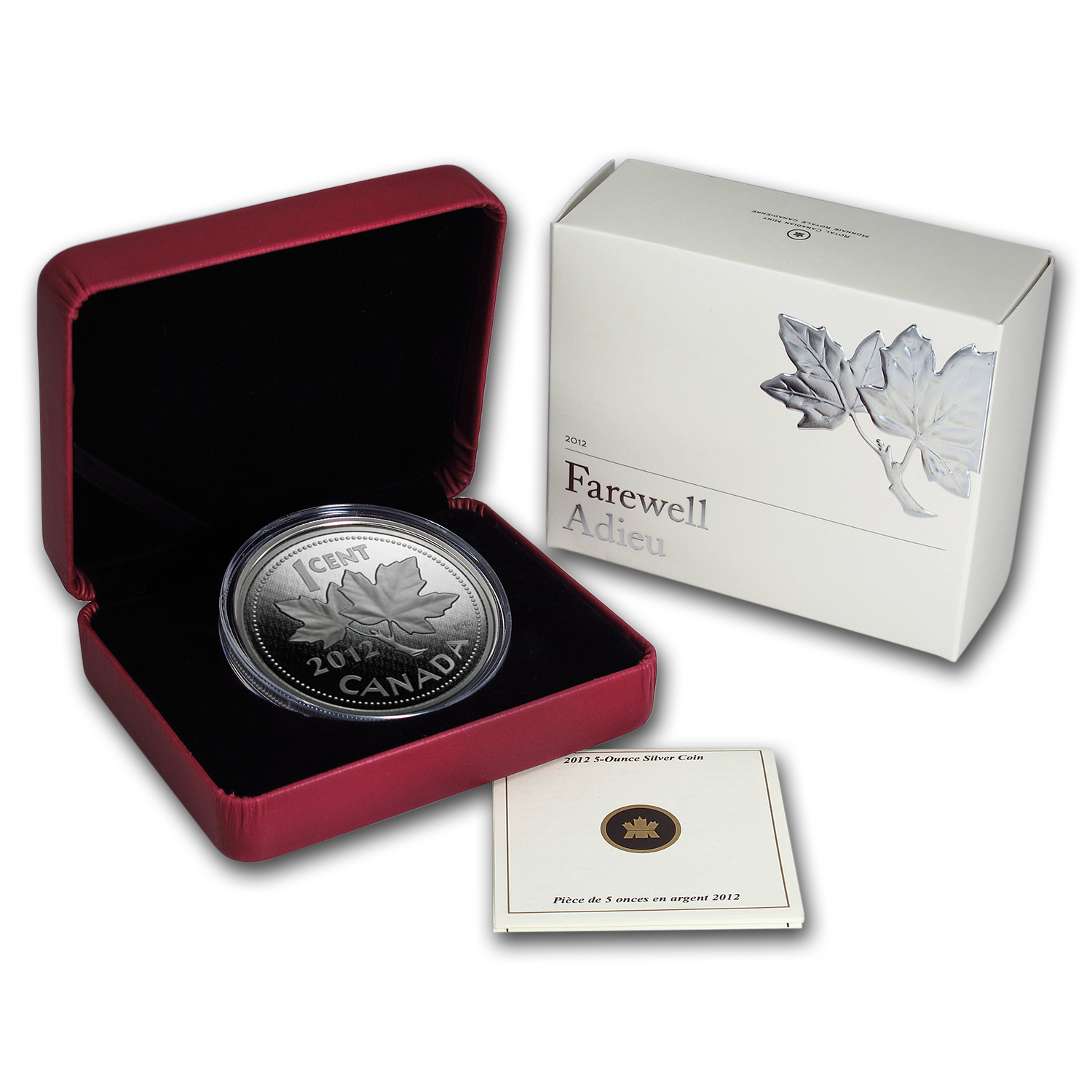 2012 5 oz Silver Canadian Coin - Farewell to the Penny